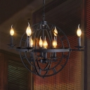 Rustic Style Orbit Chandelier Lamp Wrought Iron 8 Lights Farmhouse Pendant Light Fixture in Antique Bronze