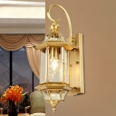 Gold 1 Head Wall Lighting Traditional Metal Birdcage Wall Mounted Light with Clear Glass Shade for Porch