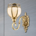 Brass 1/2-Light Wall Light Sconce Traditional Metal Floral Wall Mounted Lamp with Curvy Arm