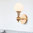 Spherical Hand Blown Glass Sconce Light Minimal 1/2-Bulb Brass Wall Sconce with Arm