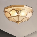 3/4/6 Lights Beveled Glass Flush Mount Lighting Fixture Traditional Gold Faceted Bedroom Close to Ceiling Light