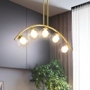 Ball Shade Pendant Lighting Fixture Modern Style Clear/Cream Glass 5/7/9 Bulbs Dining Room Chandelier Lamp