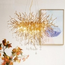 Gold Teardrop Chandelier Light Rustic 8/10 Heads Clear Crystal Pendant Lighting for Living Room, 23.5