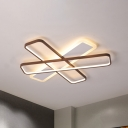 Traverse Ceiling Mounted Light Modern Acrylic Coffee LED Flush Light in Warm/White Light, 23.5