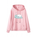 Lovely Sleeping Cat Pattern Long Sleeve Loose Fit Drawstring Hoodie for Women