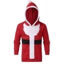 Mens Creative Christmas Santa Cosplay Costume Red Long Sleeve Slim Fit Hoodie