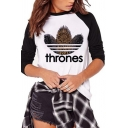Simple THRONES Letter Printed Raglan Long Sleeve Slim Fit Casual Graphic T-Shirt