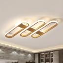 Acrylic Oval Ceiling Light Postmodern Gold LED Flush Mount Light in Warm/White Light for Living Room