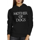 Womens Simple Letter MOTHER OF DOGS Print Long Sleeve Pouch Pocket Leisure Hoodie