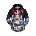 Popular Letter NASA Astronaut Space Suit 3D Print Long Sleeves Black Drawstring Hoodie