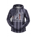 Awesome Spacecraft A GIANT LEAP FOR MANKIND Star Striped Print Dark Gray Oversized Hoodie