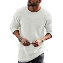 Mens Simple Fashion Long Sleeve Round Neck Solid Color Knitted Sweater