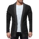 Mens Classic Shawl Collar Long Sleeve Open Front Slim Fit Knit Cardigan Coat