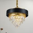 Layered Living Room Chandelier Lighting Crystal 5 Lights Modern Style Suspension Pendant in Black/White