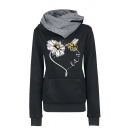 Womens Chic Flower and Bee Print Contrast Funnel Neck Kangaroo Pocket Pullover Hoodie