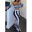 Black and White Wide Stripe Print Off Shoulder Bell Sleeve Crop Top with Flared Pants Co-ords
