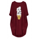 Cozy Casual Long Sleeve Round Neck Kitty Printed Letter Pockets Side Oversize Midi Sweatshirt for Female