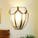 Traditional Geometric Wall Lamp 1 Bulb Hand Blown Glass Wall Light Sconce in Gold