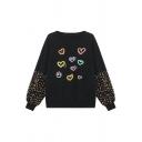 Black Stylish Blouson Sleeve Crew Neck Polka Dot Heart Print Relaxed Fit Pullover Sweatshirt for Girls