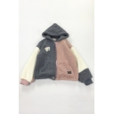 Cute Grey Blouson Sleeve Hooded Zipper Front Bear Pattern Pockets Oversize Sherpa Fleece Jacket for Girls