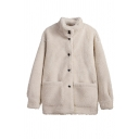 White Thickened Winter Long Sleeve Stand Collar Button Down Pocket Patched Sherpa Fleece Relaxed Fit Coat for Girls