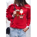Cute Girls' Long Sleeve Crew Neck Santa Claus and Reindeer Pattern Ruffle Trim Relaxed Fit Christmas Sweatshirt in Red