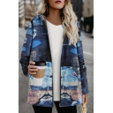 Ethnic Retro Women's Long Sleeve Hooded Zipper Front Seagull Printed Sherpa Liner Baggy Coat