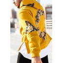 Chic Floral Flower Print Long Sleeve Split Side Loose Fit Hooded Sweatshirt for Men