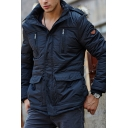 Mens Casual Plain Long Sleeve Zip Placket Fur Trimmed Hood Thick Parka Coat
