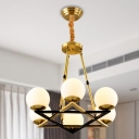 Geometric Chandelier Light Contemporary Metal 6/8 Lights Brass Hanging Light Kit with Sphere Opal Glass Shade