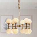 Sphere White Glass Chandelier Lighting Postmodern 12/16 Heads Brass Hanging Lamp Kit