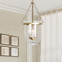 Candle Hanging Chandelier Colonial Clear Glass 3 Lights Living Room Ceiling Pendant