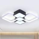 Acrylic Diamond Ceiling Lighting Modern Black/Black-White LED Flush Mount Lamp in Warm/White Light, 18