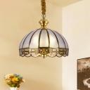 Bubble Glass Brass Hanging Light Scallop 1 Light Vintage Down Lighting Pendant for Living Room