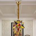 Star Dining Room Ceiling Pendant Traditional Stained Glass 1 Head Red Hanging Light Fixture