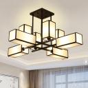 Metal Black/Brass Ceiling Flush Cube 8/10/12 Heads Traditional Semi Mount Lighting for Living Room