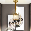 1 Bulb Cylinder Pendant Light Traditional Brass Metal Hanging Lamp with Frosted Glass Shade