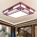 Wooden Dark Red Ceiling Flush Branch/Bird/Flower LED Traditional Flush Mount Lamp for Living Room