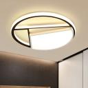 Round Acrylic Ceiling Light Modern Black-White LED Flush Mount Lighting, 16