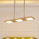Panel Island Chandelier Light Nordic Wood 3 Lights Dining Room Ceiling Pendant Light