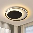 Black Loop Flush Mount Lighting Simple Style Acrylic LED Ceiling Light in Warm/White Light, 18