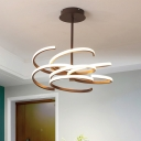 Spiral Dining Room Chandelier Light Metal Simple 24.5
