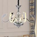 Modern Gooseneck Chandelier Lamp Acrylic 6 Lights Living Room Suspension Light in Silver
