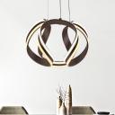 Twist Ceiling Pendant Light Modern Metal Coffee LED Chandelier Lighting Fixture in Warm/White Light