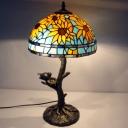 Sunflower Hand Cut Glass Desk Light Victorian 1 Head Antique Brass Standing Lamp