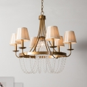 Metal Curved Arm Chandelier Lighting Tradition 6 Bulbs Hanging Ceiling Light in Brass with Tapered Fabric Shade