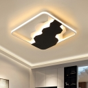 Acrylic Square Ceiling Light Fixture Modern Black LED Flush Mount Linting, Warm/White Light/Third Gear