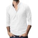 Mens Leisure Plain Long Sleeve Half Button Placket Regular Fit Thin Linen Shirt