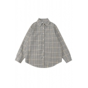 Fashion Casual Long Sleeve Lapel Neck Button Down Plaid Printed Loose Fit Shirt for Women