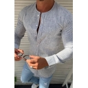 Mens Simple Style Plain Round Neck Long Sleeved Button Fly Slim Fit Woven Shirt
